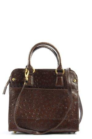 Genuine Leather Henkeltasche braun Punktemuster Business-Look
