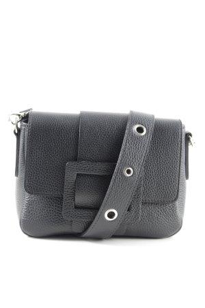 Genuine Leather Henkeltasche schwarz schlichter Stil