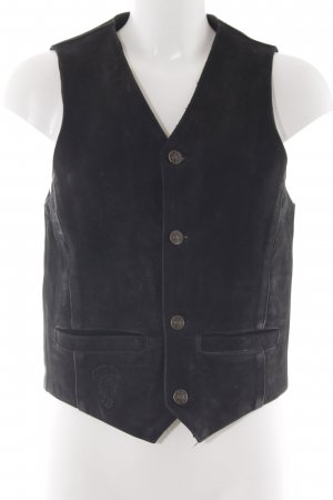 Genuine Leather Leren vest zwart Biker-look