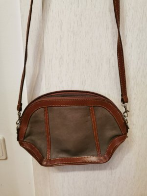Genuine Leather Made In Italy Schultertasche Umhängetasche Braun Leder