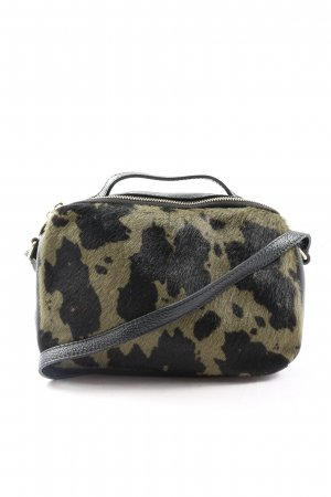 Genuine Leather Schultertasche khaki-schwarz Camouflagemuster Casual-Look