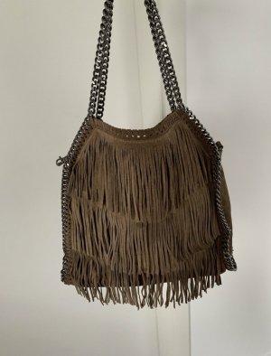 Genuine Leather Sac à franges brun