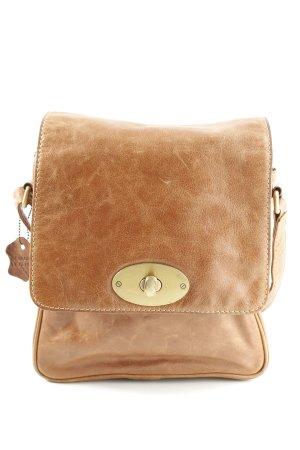 Genuine Leather Umhängetasche hellorange-goldfarben Business-Look