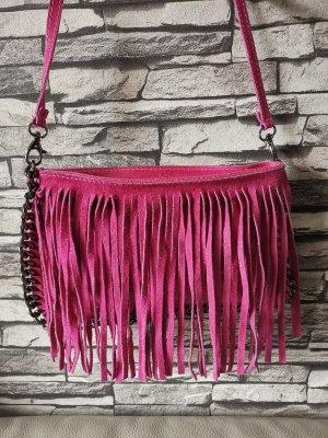 Genuine Leather Vera Pelle Made in Italy Tasche Pink Umhängetasche Fransen Ketten