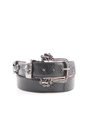 Genuine Cinturón de cuero negro estampado de animales estilo extravagante