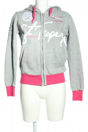Geographical Norway Kapuzenjacke hellgrau-pink meliert Casual-Look