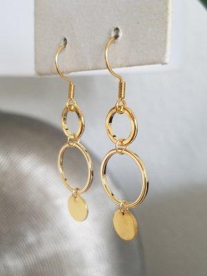 Geometrische 18k Gold Ohrringe mit Ringen und Plättchen (Handgemacht)