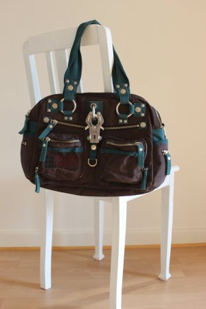 George Gina & Lucy Sac Baril bleu pétrole-brun rouge polyester