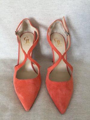 GEORGE J. LOVE Damen Pumps Schuhe in orange korall, Gr. 41
