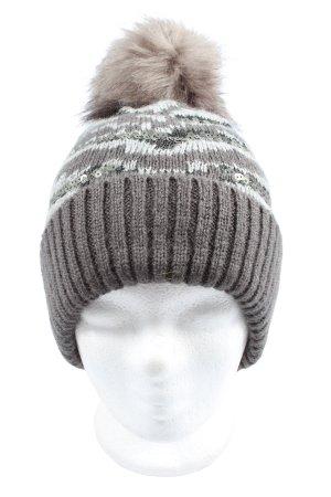 George. Sombrero de punto gris claro-blanco estampado a rayas look casual