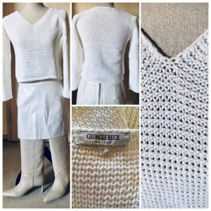 Georges Rech Pullover all'uncinetto bianco Cotone