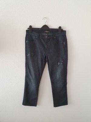 Geox Denim Jeans 44 dunkelblau destroyed ripped pailetten schwarz slim