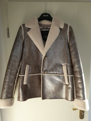 Geox Fake Fur Jacket silver-colored-oatmeal synthetic fibre