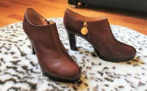 GEOX Hochfront Pumps Plateau High heels Leder 38 braun gold