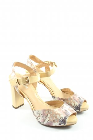 Geox Respira High Heel Sandaletten creme-pink Blumenmuster Casual-Look