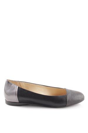 Geox Respira Ballerina di pelle verniciata nero-argento stile casual