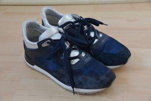 GEOX Respira Sneaker Turnschuhe Halbschuhe Veloursleder dunkelblau/silber Gr. 37
