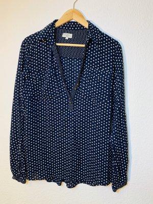Tom Tailor Shirt Blouse dark blue-white viscose