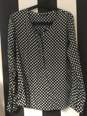 Gepunktete Bluse schwarz weiß
