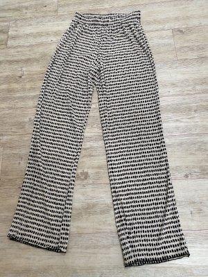 Zara Pantalón anchos blanco-negro Poliéster
