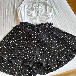 H&M Short taille haute blanc-noir polyester
