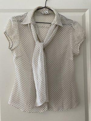 H&M Blouse avec noeuds noir-blanc cassé