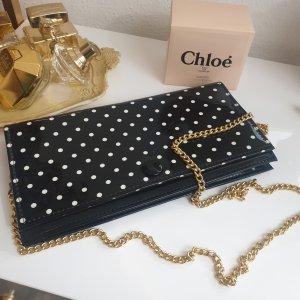 Gepunktete Schwarz weiß Vintage Tasche Clutch Lackleder Crossbody mit goldfarbener Kette