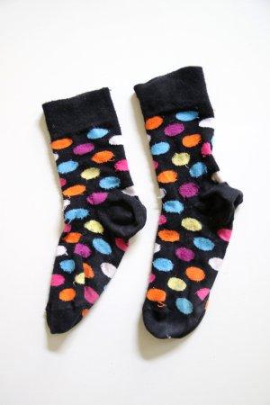Gepunktete Socken in schwarz-bunt Größe 38/39