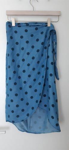 Mango Wraparound Skirt light blue-blue