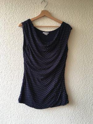 H&M Cowl-Neck Shirt dark blue viscose