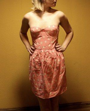 Topshop Bandeau Dress salmon-cream cotton
