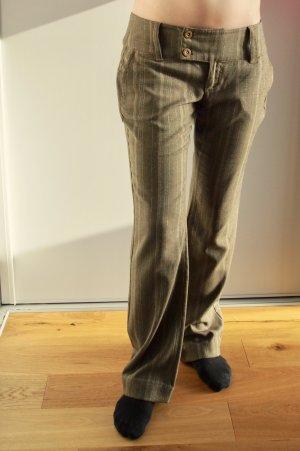 Gerade geschnittene Stoffhose braun / beige W 29 mit Streifen