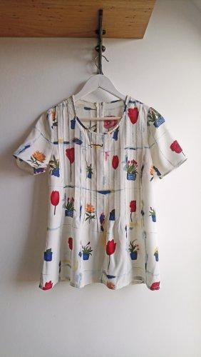 Gerade geschnittene Vintage Bluse Shirt weiß mit Print Blumen artsy oversized