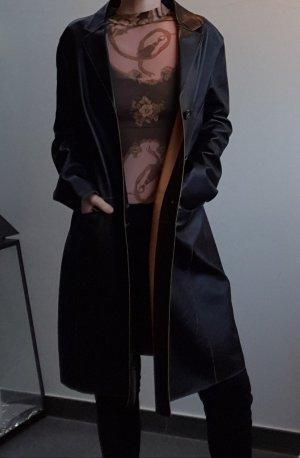 gerader vintage Golden Buckle Los Angeles Echtleder Mantel, schwarz mit camelfarbenem Lederfutter, sehr guter Zustand