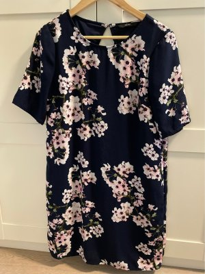 Geradliniges Kleid in dunkelblau mit Kirschblüten