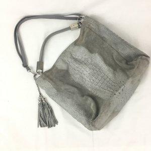 Genuine Leather Bolso tipo marsupio gris-color plata Cuero