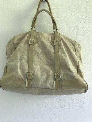 Geräumige Sommertasche aus Leinen mit Lederbesatzt von Entra, Prontomoda aus Italien.