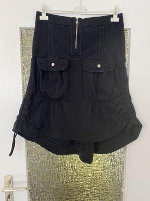 geraffter high waist midirock in schwarz