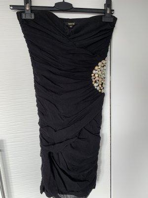 Gerafftes Bodycon Kleid schwarz mit Strass/Glitzer Steinen