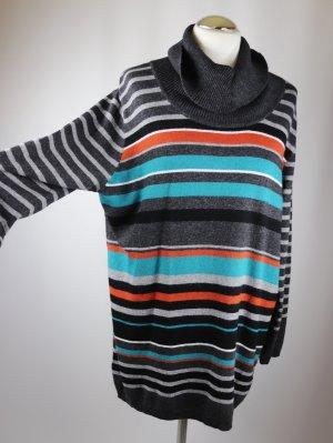 Geringelter Longpullover Pullover Gerry Weber Größe 42 Strick Feinstrick Meliert Grau Schwarz Türkis Petrol Streifen Orange Rollkragen