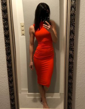 H&M Bandeau Dress red viscose