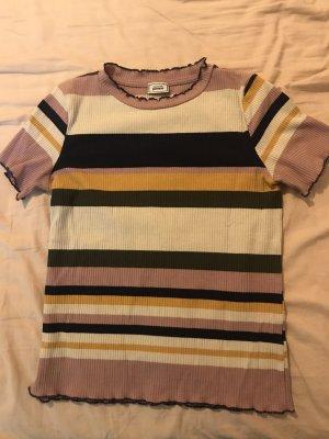 Geripptes Ringel T-Shirt bunt Rüschen