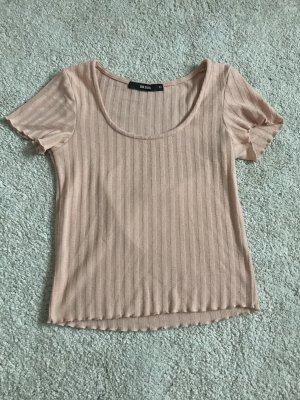 Bikbok Geribd shirt stoffig roze-nude