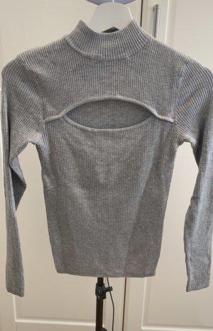 H&M Camisa acanalada gris claro