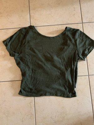 H&M Divided Camisa acanalada verde oscuro-caqui