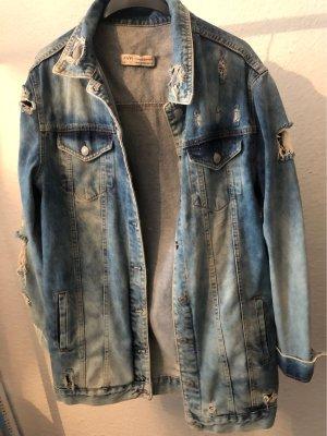 Gerissene Lange jeansjacke