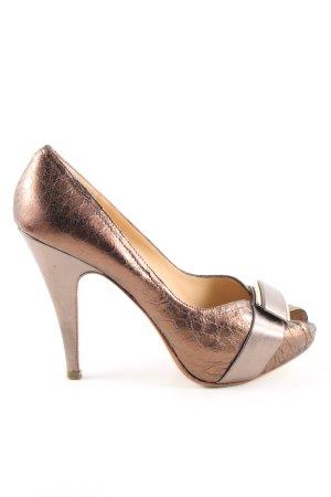 Gero Peeptoe Pumps bronzefarben Animalmuster Business-Look