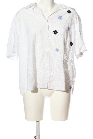 Gerry Weber Kurzarmhemd weiß-blau Blumenmuster Casual-Look