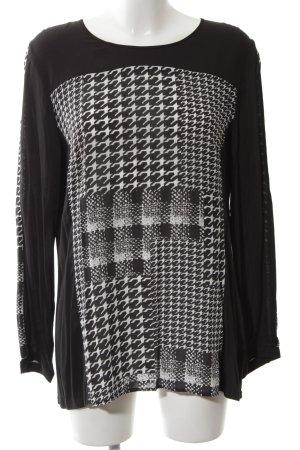 Gerry Weber Langarm-Bluse schwarz-weiß grafisches Muster Casual-Look