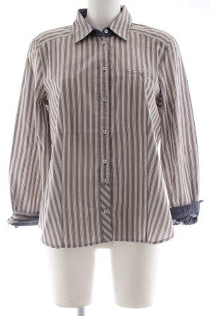 Gerry Weber Langarmhemd weiß-graubraun Streifenmuster schlichter Stil